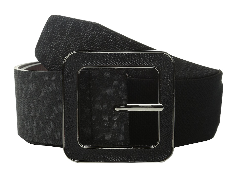 MICHAEL Michael Kors - 50mm Logo PVC Waist Belt on Saffiano Inlay Buckle with Stretch Back (Black) Women's Belts