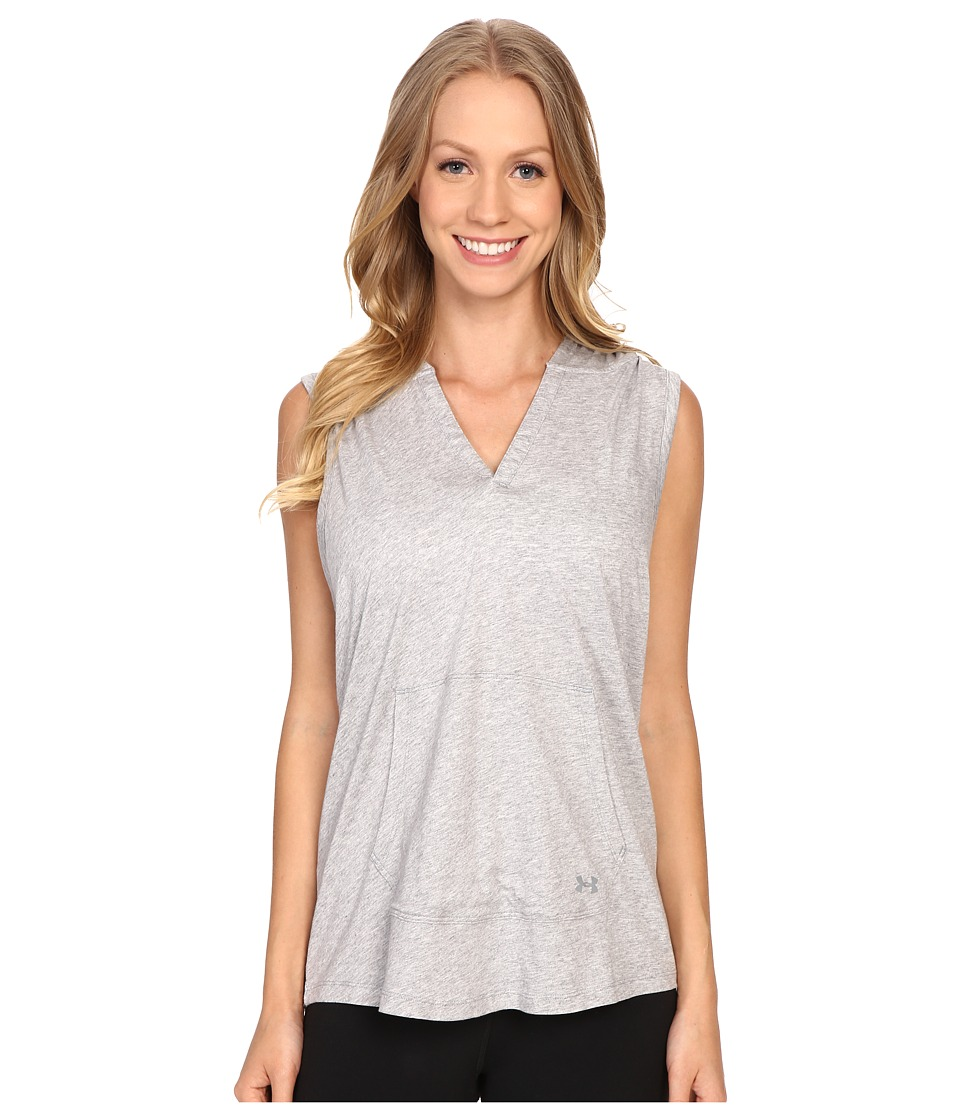 Under Armour - UA Favorite Sleeveless Hoodie (True Gray Heather/Steel) Women's Sleeveless