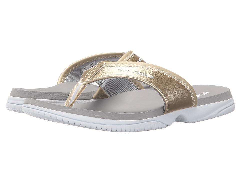 New Balance - JoJo Thong (White/Gold) Women's Sandals