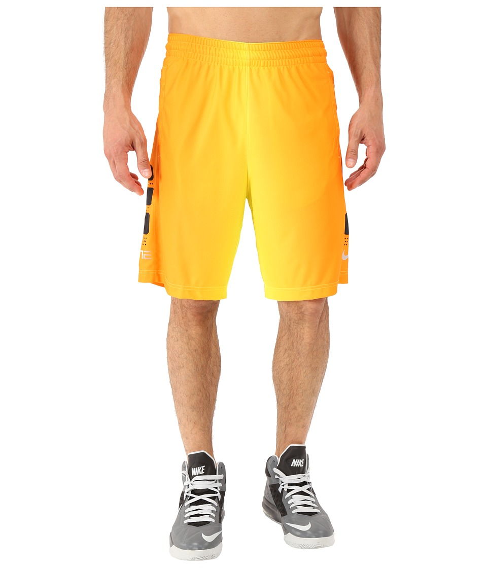 Nike Elite Stripe Plus Basketball Short (Volt/Black/Vivid Orange/Metallic Silver) Men