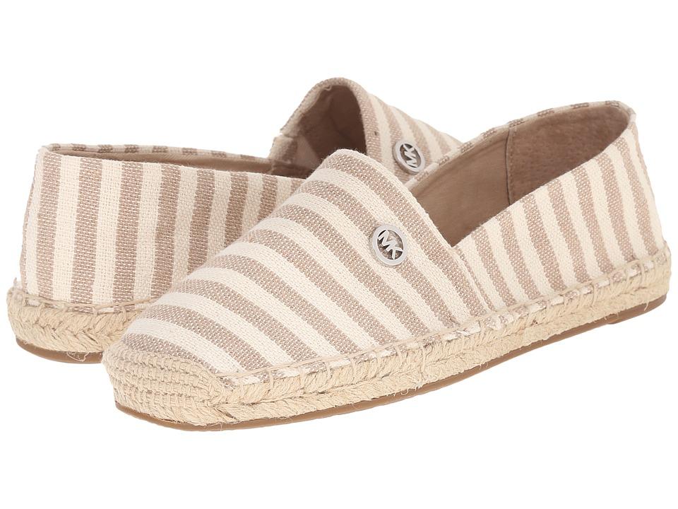 MICHAEL Michael Kors - Kendrick Slip-On (Natural/Dark Khaki Canvas Stripe) Women's Slip on Shoes