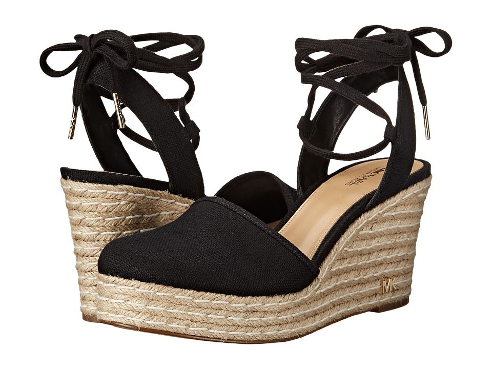 MICHAEL Michael Kors - Margie Closed Toe Wedge (Black Small Weave Canvas) Women's Shoes