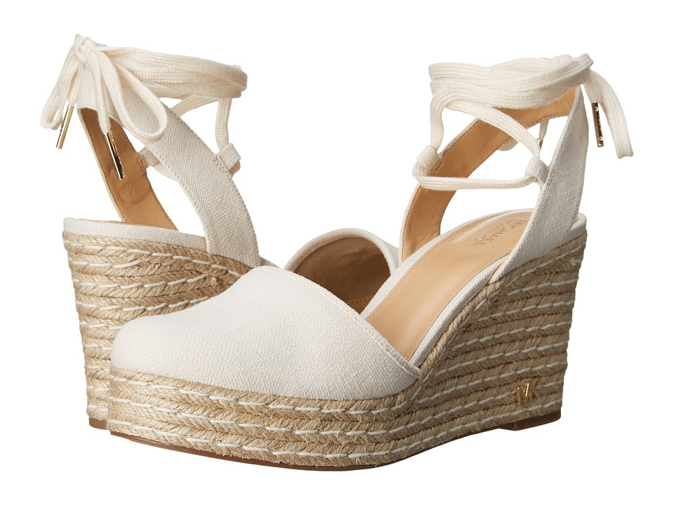 MICHAEL Michael Kors - Margie Closed Toe Wedge (Natural Small Weave Canvas) Women's Shoes