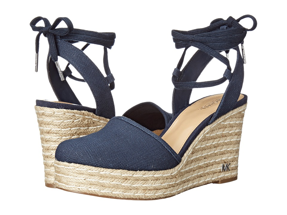 MICHAEL Michael Kors - Margie Closed Toe Wedge (Navy Small Weave Canvas) Women's Shoes