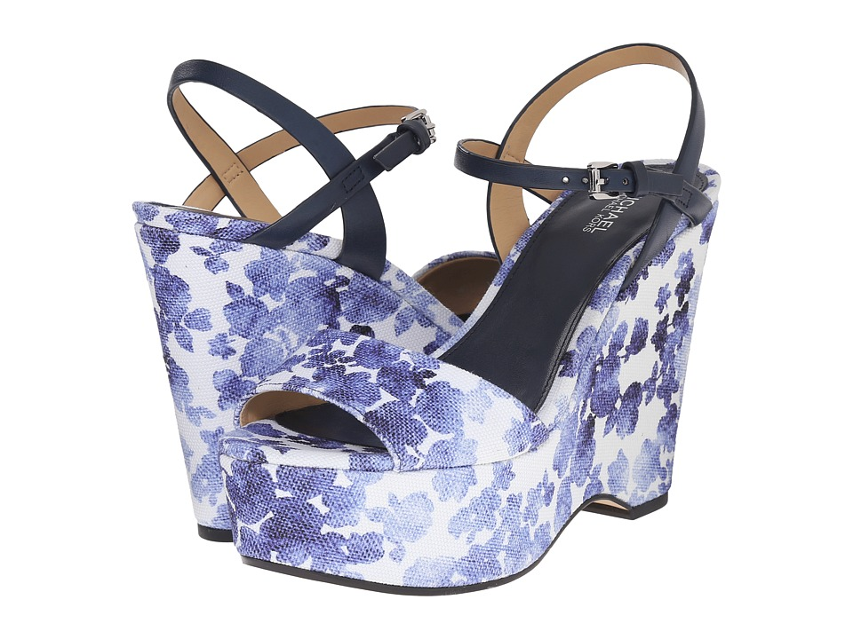 MICHAEL Michael Kors - Leonora Wedge (Blue Printed Canvas Floral/Vachetta) Women's Shoes