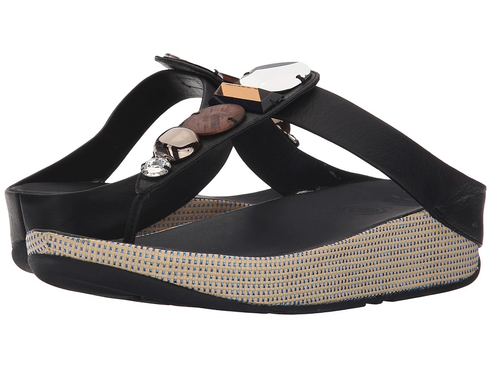 FitFlop - Jeweley Toe Post (Black) Women's Sandals