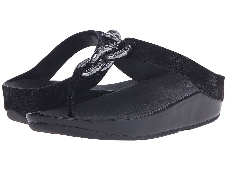 FitFlop - Superchain Toe Post (Black) Women's Sandals
