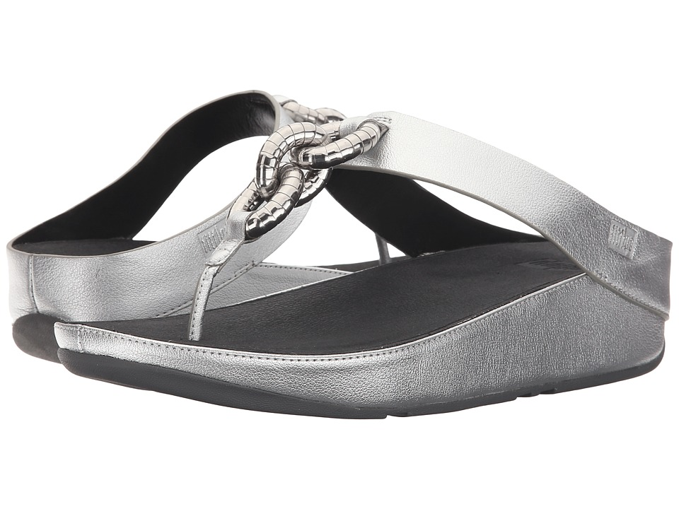 FitFlop - Superchain Toe Post (Silver) Women's Sandals
