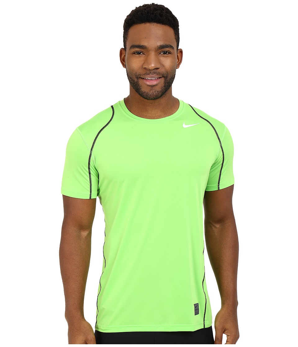 Nike - Pro Cool Fitted S/S (Action Green/Black/White) Men's Short Sleeve Pullover
