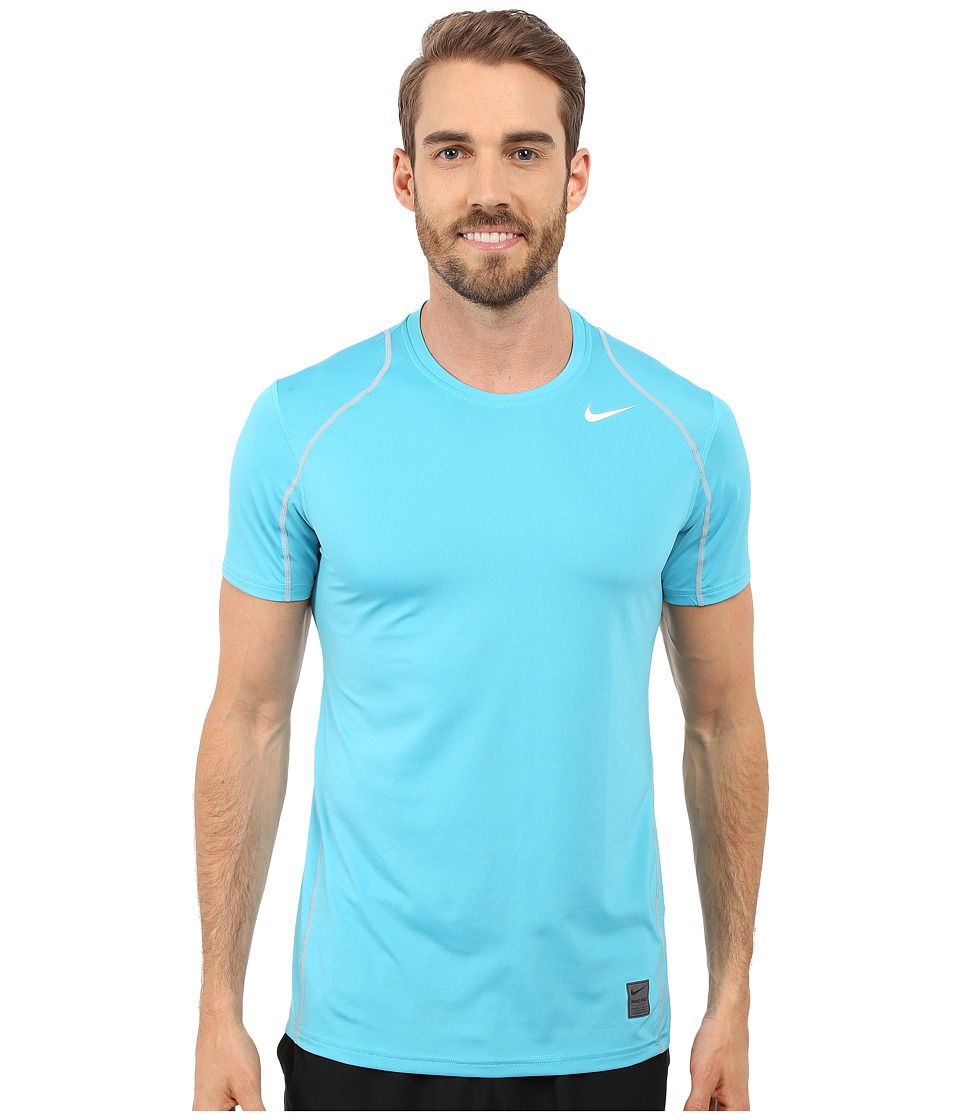 Nike - Pro Cool Fitted S/S (Omega Blue/Wolf Grey/White) Men's Short Sleeve Pullover