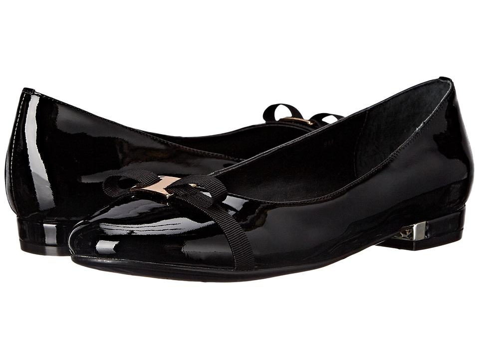Vaneli - Glenis (Black Soft Patent/Black Arianna Fabric/Gold Trim) Women