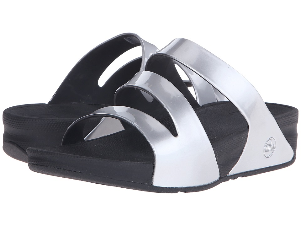 FitFlop - Superjelly Twist Metallic (Silver Mirror) Women's Sandals