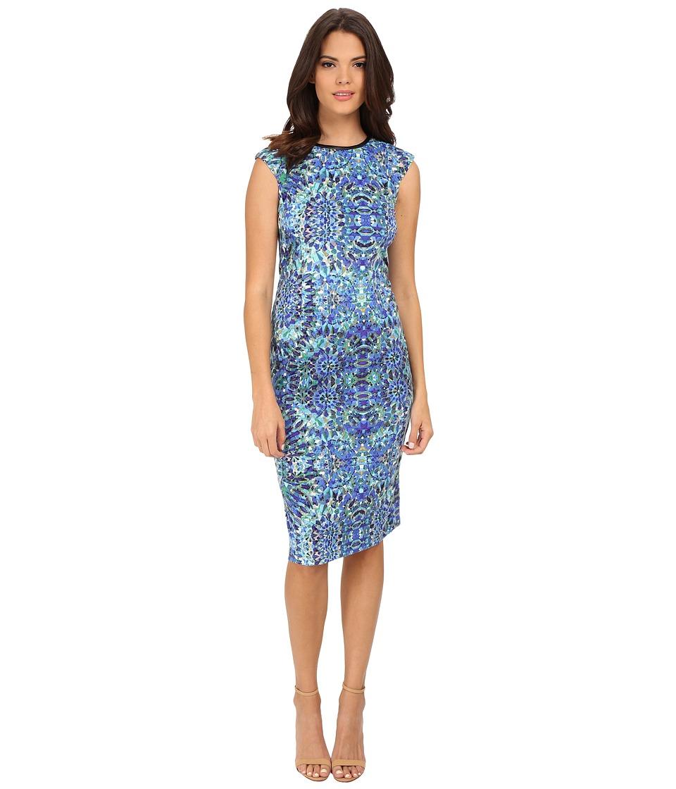London Times - Printed Ponte Cap Sleeve Sheath (Blue) Women's Dress