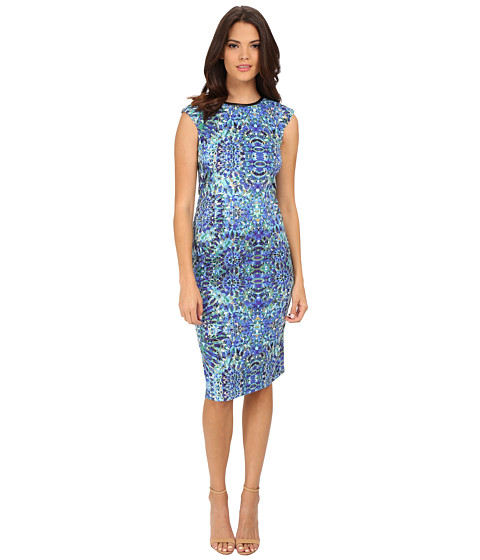 London Times - Printed Ponte Cap Sleeve Sheath (Blue) Women's Dress