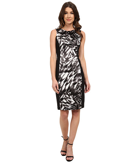 London Times - Side Blocked Printed Stretch Satin/Mystic Crepe Sheath (White/Black) Women