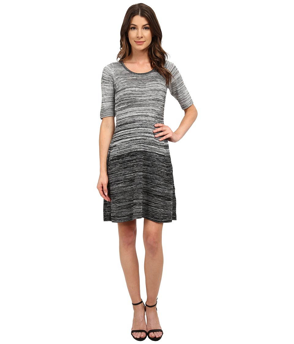 London Times - Elbow Sleeve Marled A-Line Sweater Dress (Black/Ivory) Women's Dress