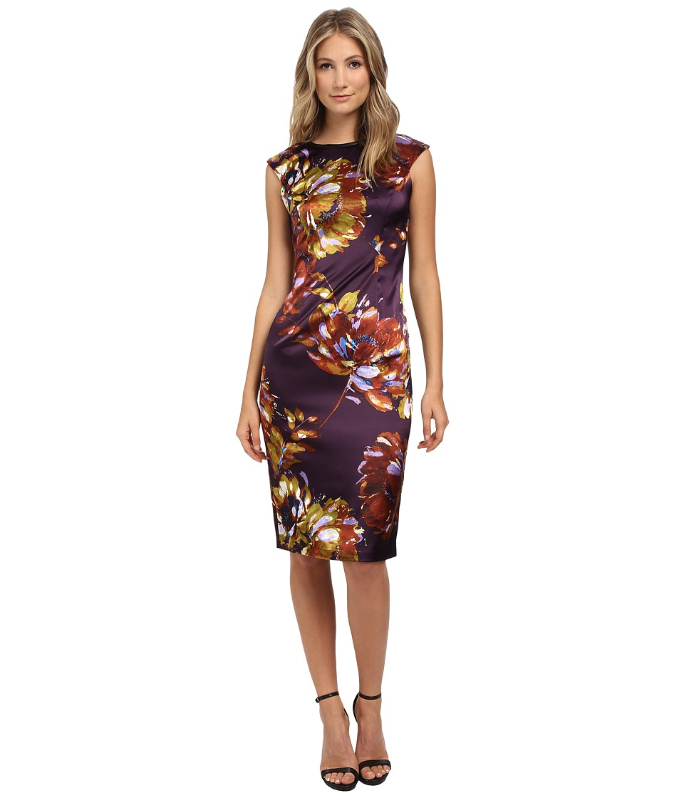London Times - Cap Sleeve Midi Stretch Satin Sheath (Multi) Women's Dress