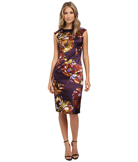 London Times - Cap Sleeve Midi Stretch Satin Sheath (Multi) Women