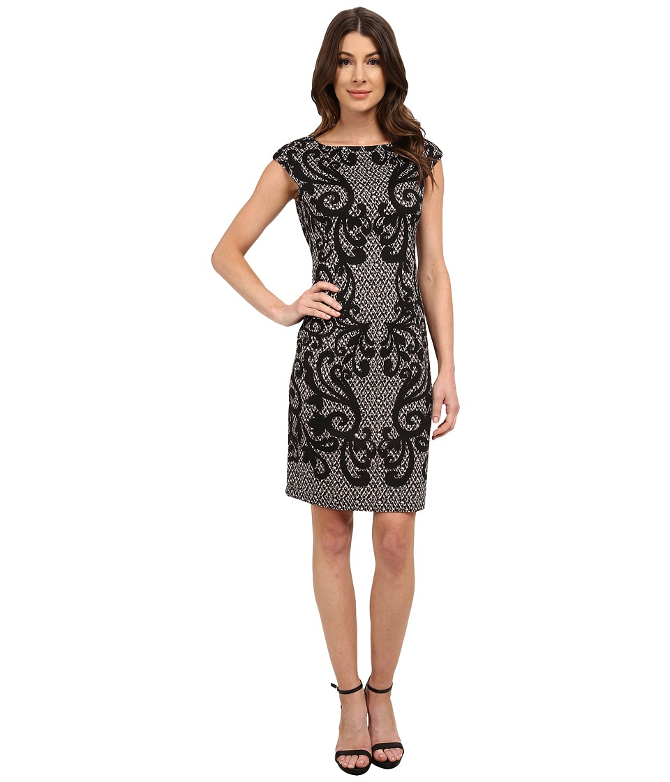 London Times - Cap Sleeve Printed Ponte Sheath (Taupe/Black) Women's Dress