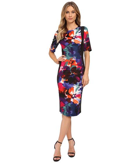 London Times - Elbow Sleeve Side Blocked Scuba Sheath (Multi) Women's Dress