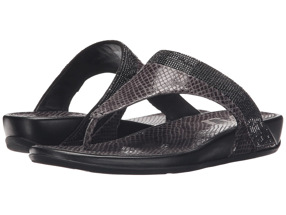 FitFlop - Banda Crystal Snake Toe Post (Black) Women