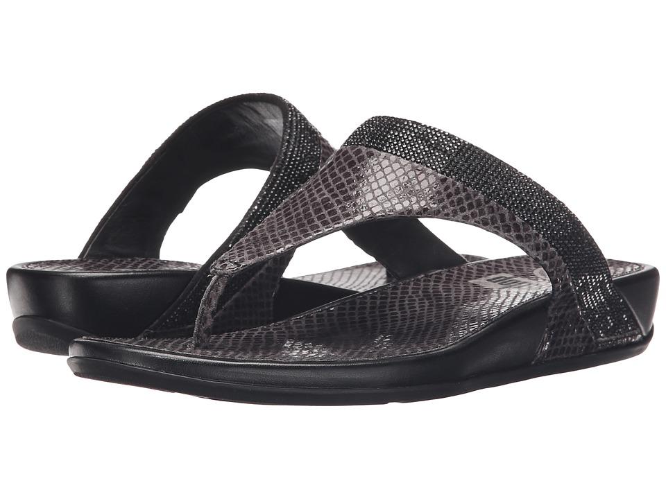 FitFlop Banda Crystal Snake Toe Post Black Sandals
