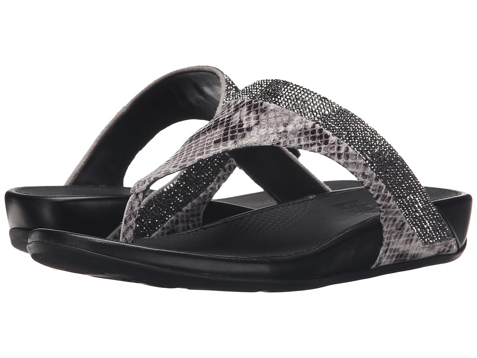 FitFlop - Banda Crystal Snake Toe Post (Mink) Women's Sandals