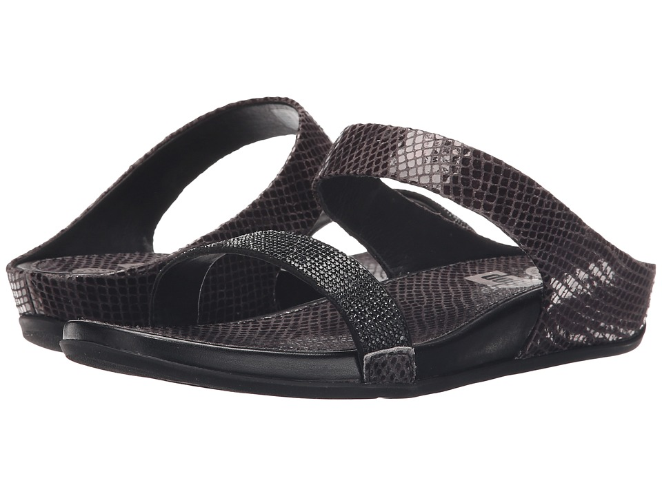 FitFlop Banda Crystal Snake Slide Black Sandals