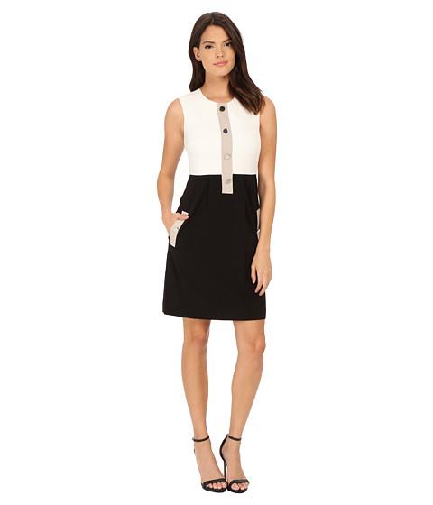Calvin Klein - Color Block Fit Flare Dress (Winter White/Black/Khaki) Women's Dress