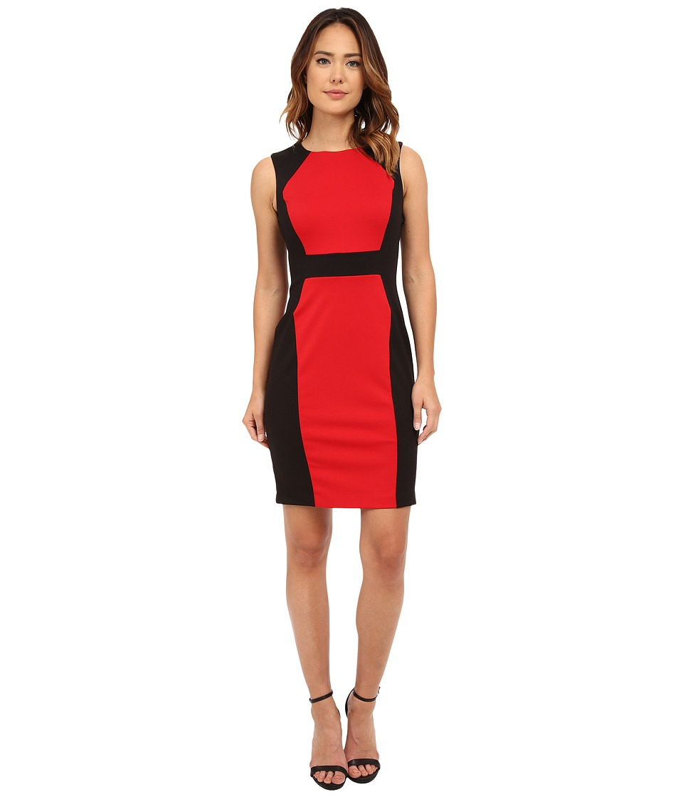 Calvin Klein - Color Block Sheath (Red/Black) Women's Dress
