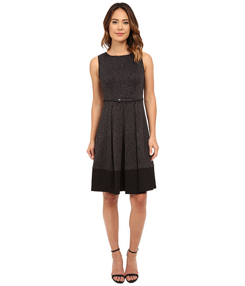 Calvin Klein - Fit Flair Belted Dress (Black/Charcoal) Women's Dress