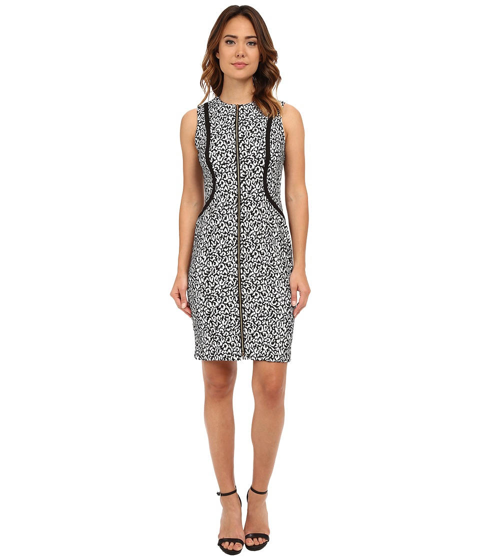 Calvin Klein - Zip Front Sleeveless Sheath (Black/Cream) Women
