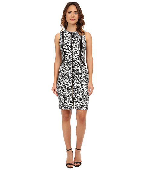 Calvin Klein - Zip Front Sleeveless Sheath (Black/Cream) Women's Dress