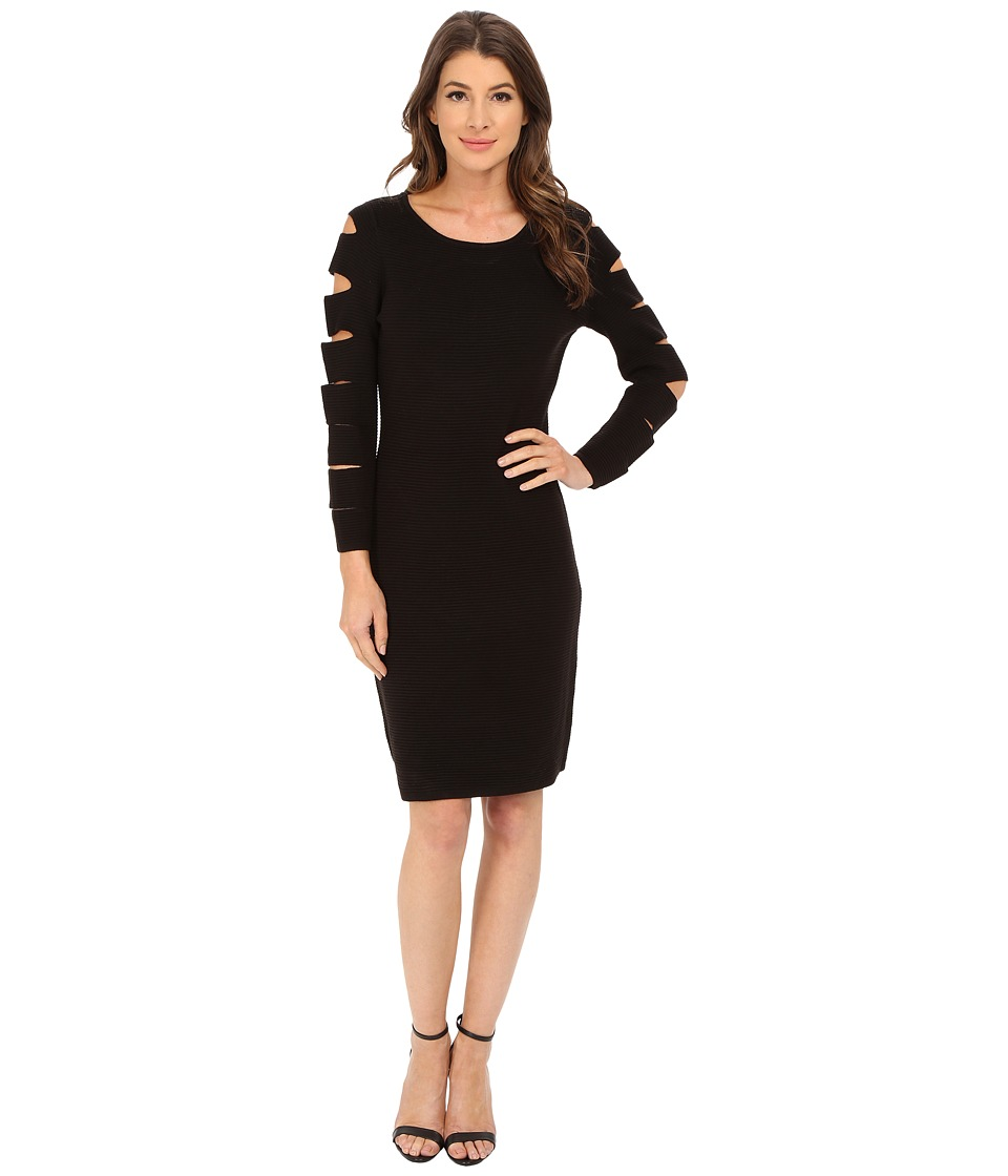 Calvin Klein - Sleeve Cut Out Sweater Dress (Black) Women's Dress