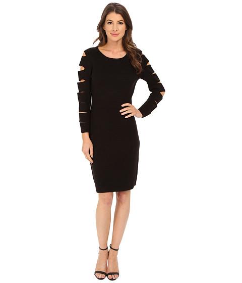 Calvin Klein - Sleeve Cut Out Sweater Dress (Black) Women