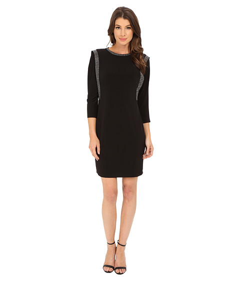 Calvin Klein - 3/4 Sleeve Shift Dress with Embalishment Detail (Black) Women