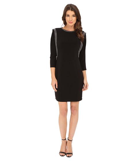 Calvin Klein - 3/4 Sleeve Shift Dress with Embalishment Detail (Black) Women