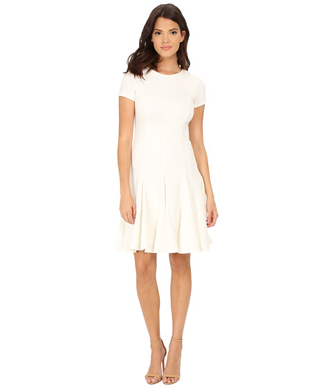 Calvin Klein - Cap Sleeve Fit Flare Dress (Winter White) Women's Dress