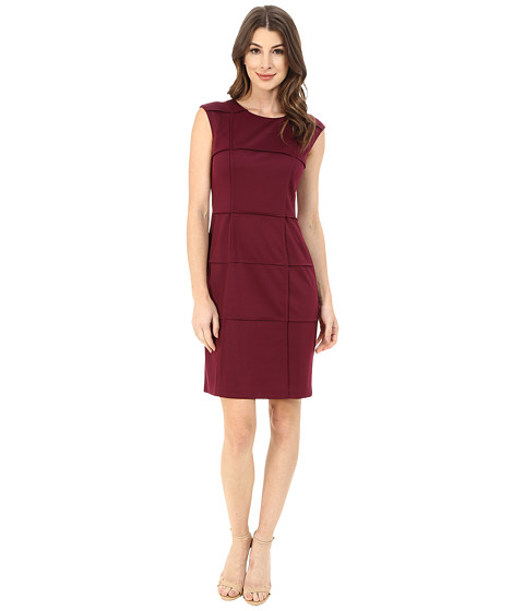 London Times - Sleeveless Piped Ponte Sheath (Wine) Women