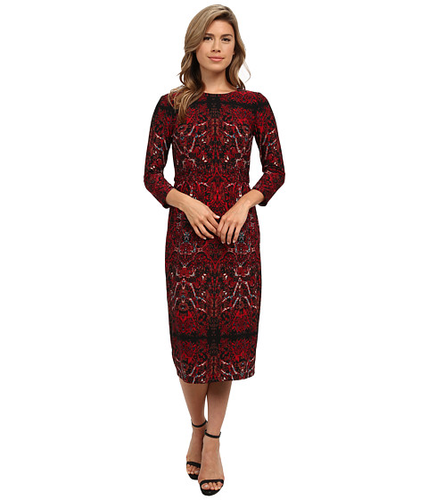 London Times - Long Sleeve Printed Jersey Sheath (Black/Red) Women's Dress