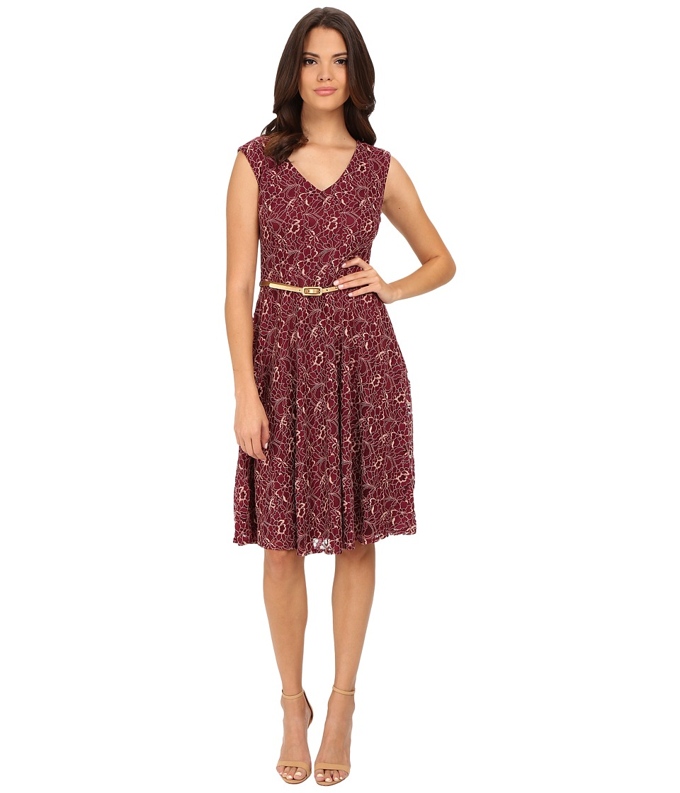 London Times - Cap Sleeve V-Neck Lace Belted Full Skirt (Wine) Women's Dress