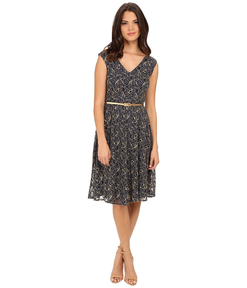 London Times - Cap Sleeve V-Neck Lace Belted Full Skirt (Navy) Women's Dress