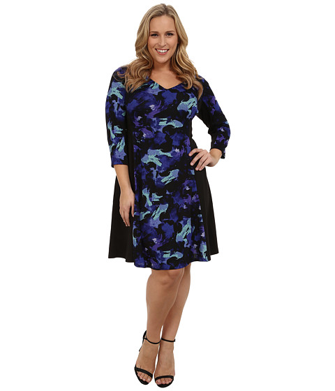 London Times - Plus Size Haatchi Knit Fit and Flare (Black/Royal) Women