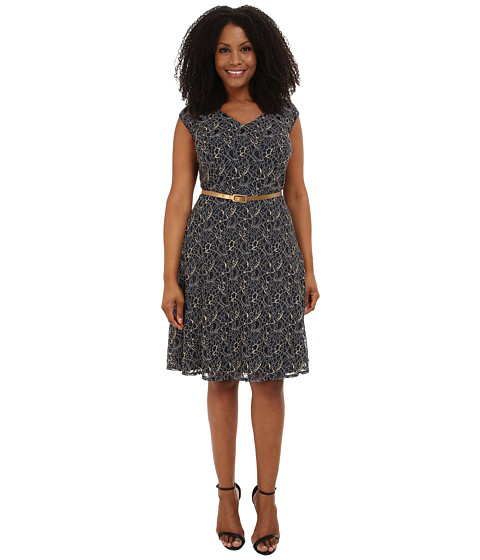 London Times - Plus Size Cap Sleeve V-Neck Lace Belted Full Skirt (Navy) Women