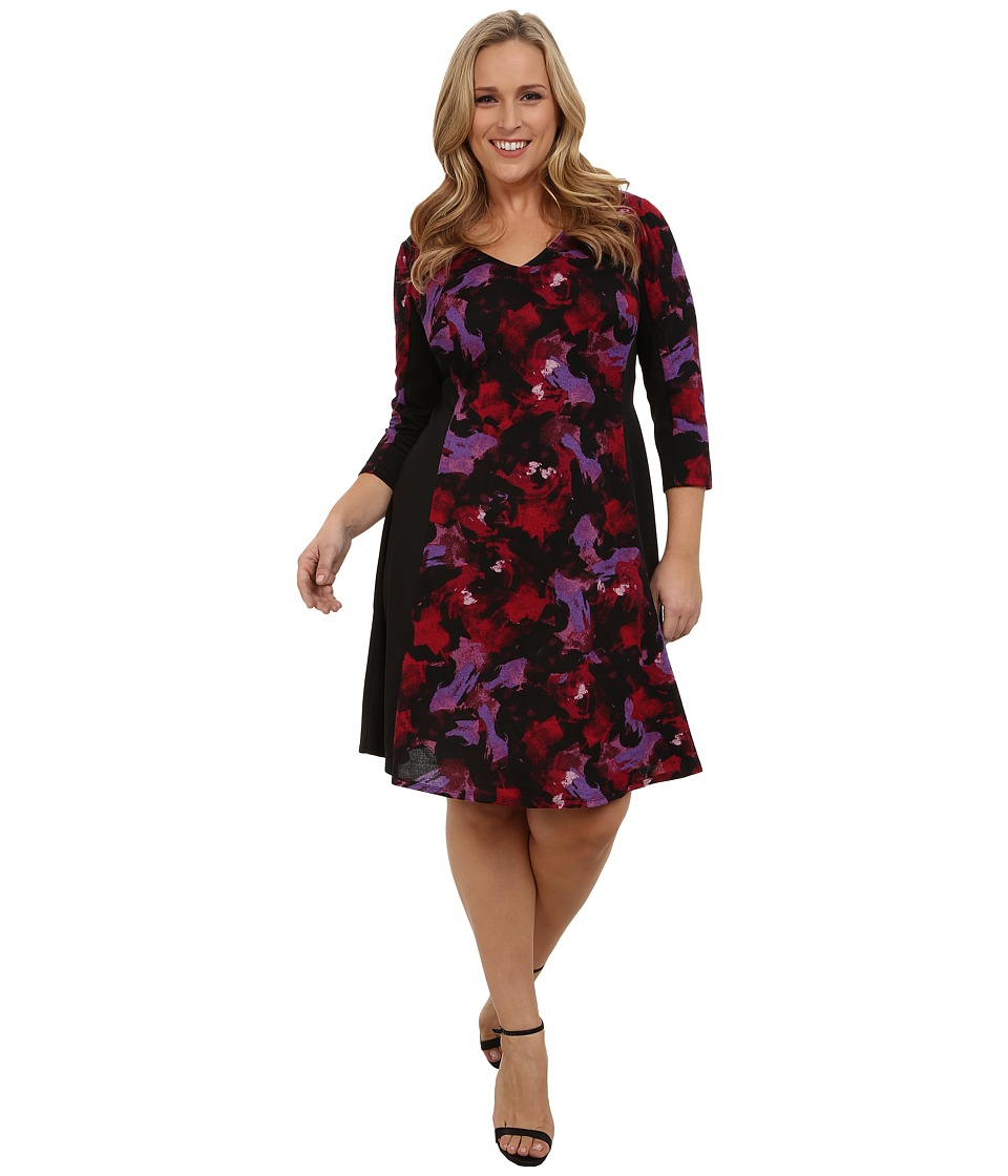 London Times - Plus Size Haatchi Knit Fit and Flare (Black/Pink) Women