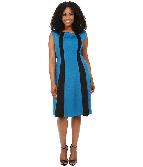 London Times - Plus Size Cap Sleeve Spliced Ponte/Jacquard Fit and Flare (Teal/Black) Women