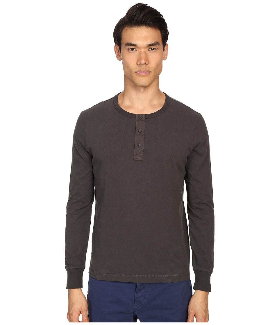 Jack Spade Sueded Long Sleeve Henley (Washed Dark Grey) Men