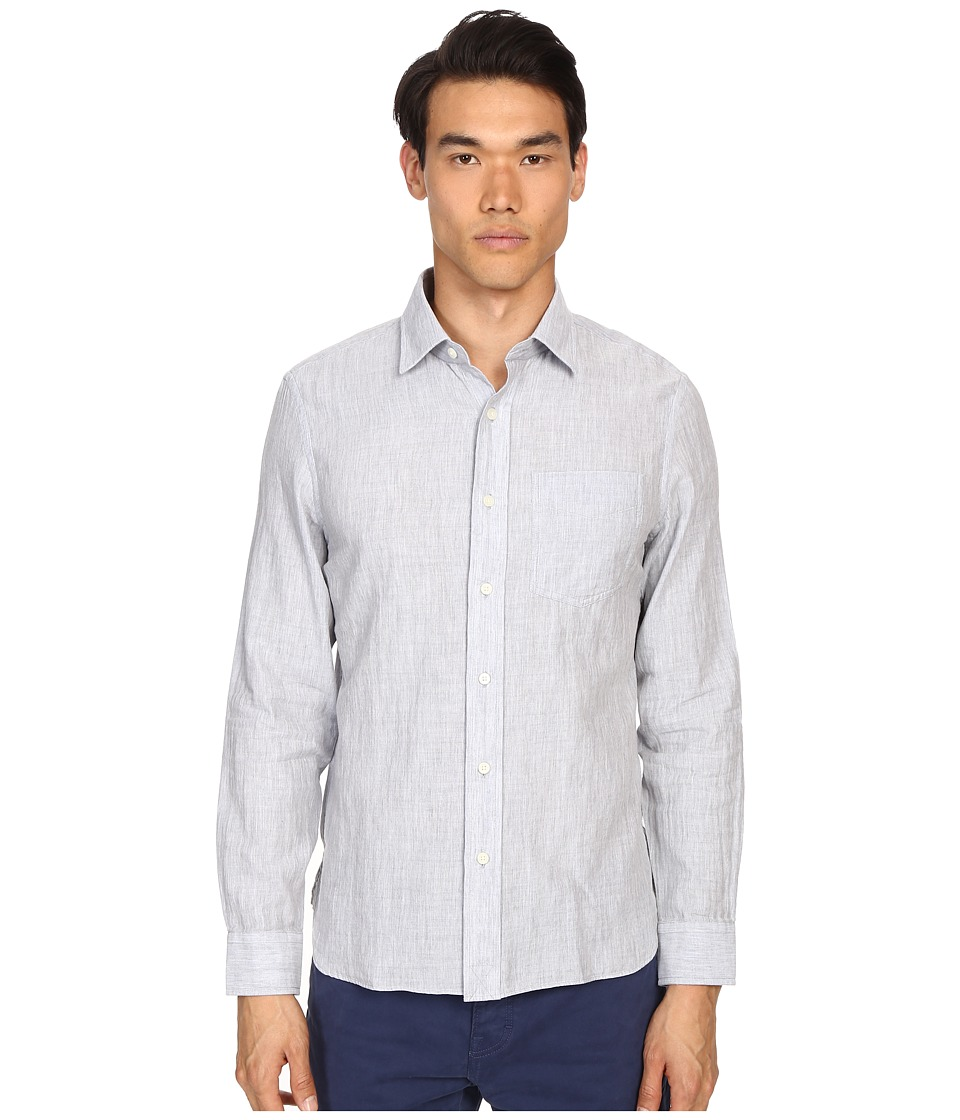 Jack Spade - Grant Point Collar Double Face Chambray (Grey) Men's Long Sleeve Button Up