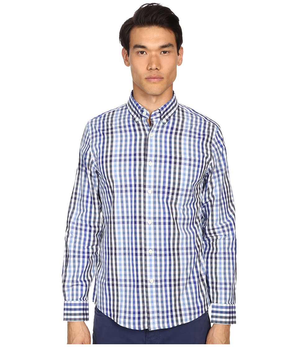 Jack Spade - Palmer Button Down One-Pocket Multi-Tone Gingham (Blue) Men's Long Sleeve Button Up