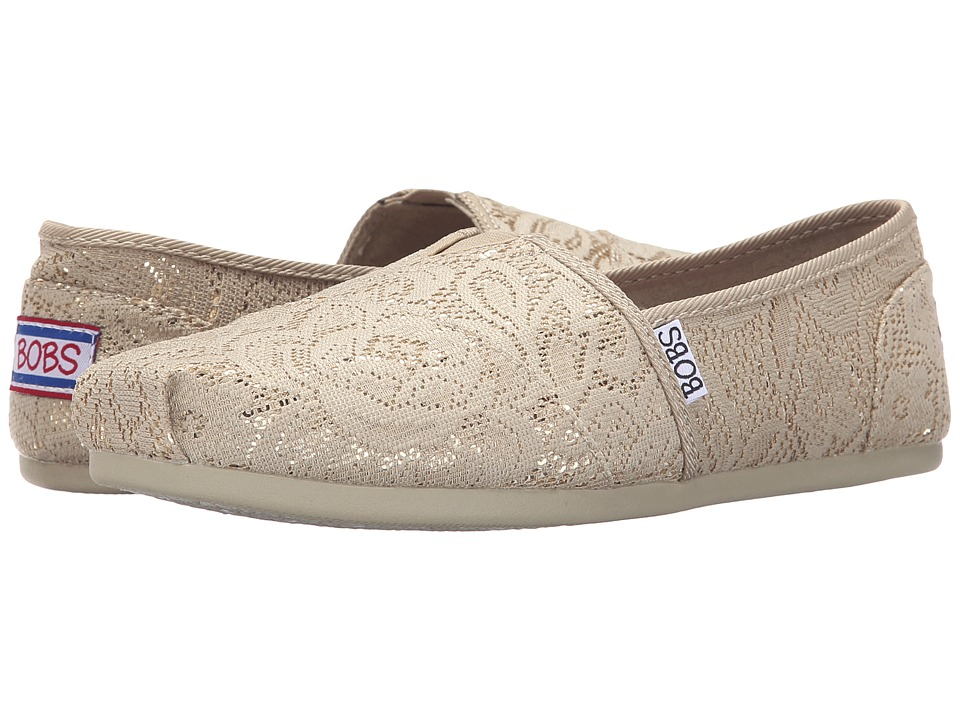 BOBS from SKECHERS - Bobs Plush - Shimmer Shine (Khaki) Women's Slip on Shoes